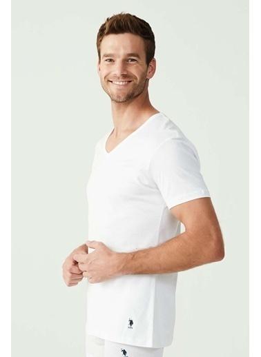 U.S. Polo Assn. Erkek Siyah 5 Li Pamuk V Yaka T-Shirt Beyaz